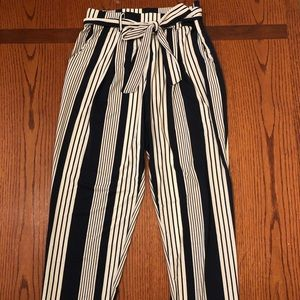 Blue and white stripes flowy pants